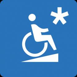 Wózek inwalidzki na pochylni (symbol) z gwiazdką