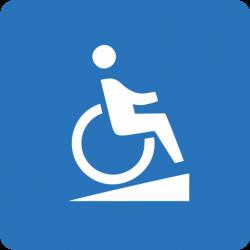 Wózek inwalidzki na pochylni - symbol