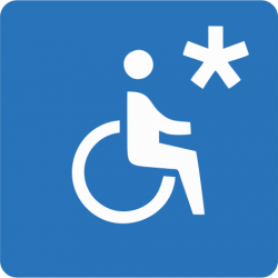 Wózek inwalidzki (symbol) z gwiazdką