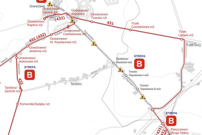 Schemat tras linii nr 431 i 432 - objazdy od 14 maja 2018
