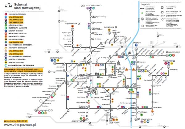 schemat sieci tramwajowej od 23 marca 2020