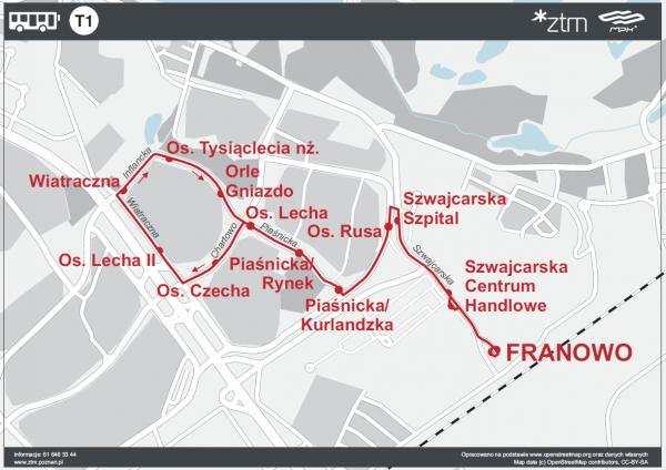 Franowo trasa linii T1