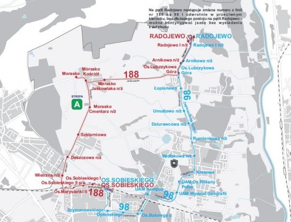 schemat tras linii 98 i 188