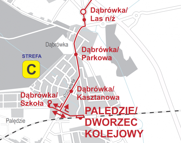 Schemat linia 727 do dworca