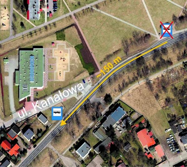 mapka z miejscem przesuniecia przystanku Kozieglowy Krotka dla linii nr 237 320 321 323 396 398
