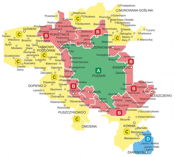 obrazek przedstawia strefy biletowe obowiazujace na liniach ZTM Poznan od 1 stycznia 2020 roku