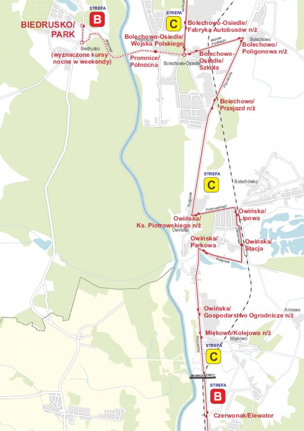 Mapa - schemat linii 342 - kursy nocne do Biedruska