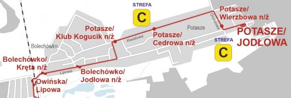 schemat pokazujacy lokalizacje petli Potasze otwartej od 2 wrzesnia