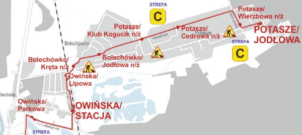 zmieniona trasa linii nr 396 od 25 marca