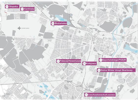 mapka nowych stref Poznanskiego Roweru Miejskiego 4G2